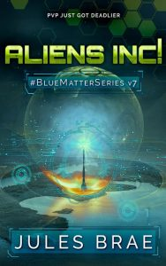 cover for Aliens inc!, GameLit book, showing futuristic obelisk on new planet