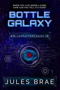 cover for Bottle Galaxy, GameLit book, showing red spiral nebula in midnight blue starfield