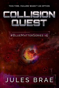 cover for Collision Quest, GameLit book, showing flaming asteroid streaming across a reddish orange starfield