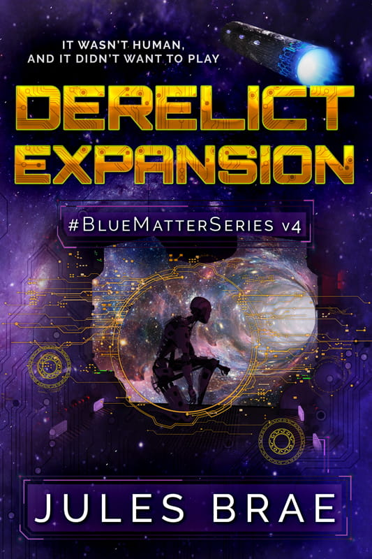cover for Derelict Expansion, GameLit book, showing android inside ship gazing at a wormhole