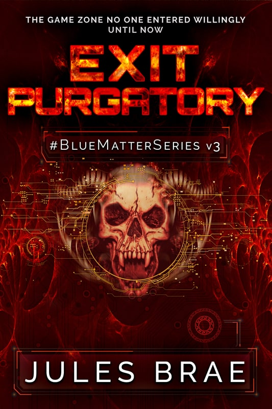 cover for Exit Purgatory, GameLit book, showing demon skull on reddish cover