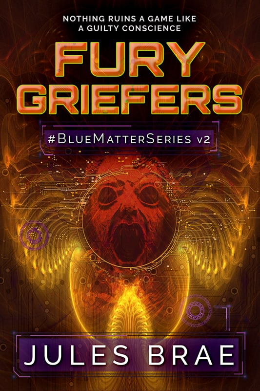 cover for Fury Griefers, GameLit book, showing fantasy image of a screaming red faced fury