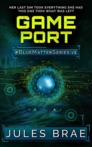 cover for Game Port, GameLit novel, showing blue sphere superimposed over woman's head